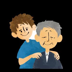 肩を揉まれる老人